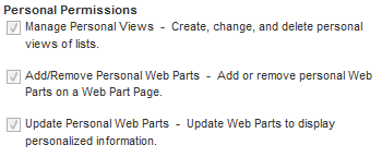 Permissions required for personalization