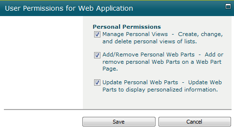 Permissions for web app